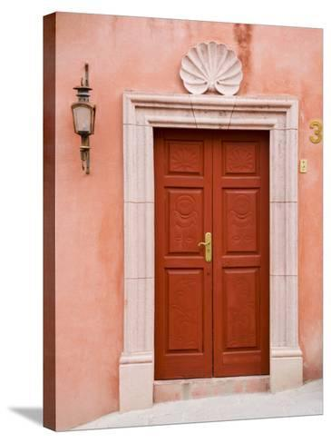 Carved Red Door, San Miguel, Guanajuato State, Mexico-Julie Eggers-Stretched Canvas Print