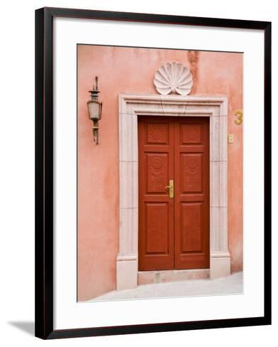 Carved Red Door, San Miguel, Guanajuato State, Mexico-Julie Eggers-Framed Art Print