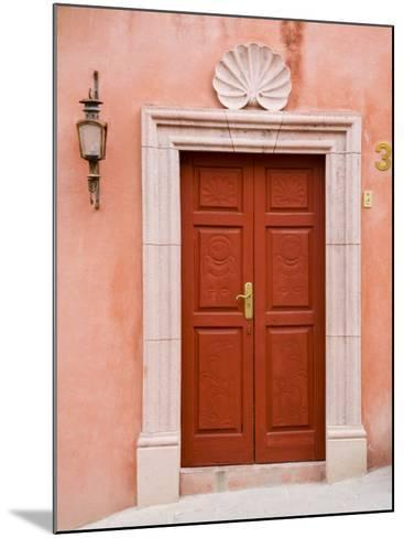 Carved Red Door, San Miguel, Guanajuato State, Mexico-Julie Eggers-Mounted Photographic Print