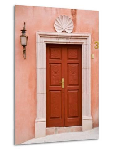 Carved Red Door, San Miguel, Guanajuato State, Mexico-Julie Eggers-Metal Print