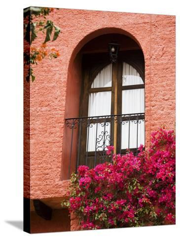 Window With Balcony, San Miguel De Allende, Guanajuato State, Central Mexico-Julie Eggers-Stretched Canvas Print