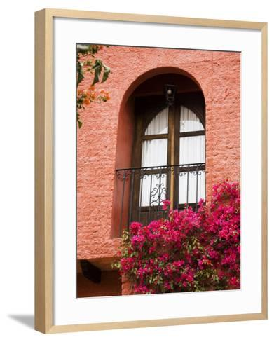 Window With Balcony, San Miguel De Allende, Guanajuato State, Central Mexico-Julie Eggers-Framed Art Print