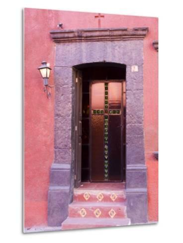 Glass Door Entrance,San Miguel, Guanajuato State, Mexico-Julie Eggers-Metal Print
