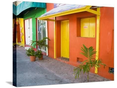 Colorful Street Front, Isla Mujeres, Quintana Roo, Mexico-Julie Eggers-Stretched Canvas Print