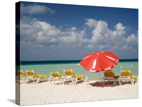 Sun Loungers and Umbrellas, Isla Mujeres, Quintana Roo, Mexico-Julie Eggers-Stretched Canvas Print