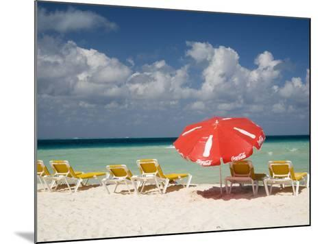 Sun Loungers and Umbrellas, Isla Mujeres, Quintana Roo, Mexico-Julie Eggers-Mounted Photographic Print