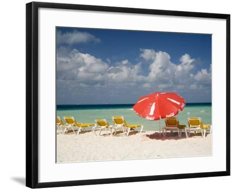Sun Loungers and Umbrellas, Isla Mujeres, Quintana Roo, Mexico-Julie Eggers-Framed Art Print
