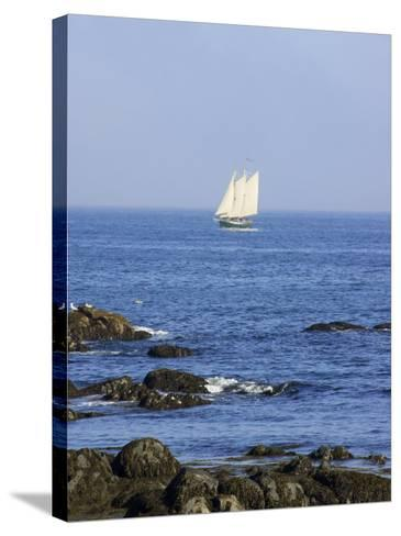Sailboat Along The Coast, Kennebunkport, Maine, USA-Lisa S^ Engelbrecht-Stretched Canvas Print