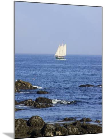 Sailboat Along The Coast, Kennebunkport, Maine, USA-Lisa S^ Engelbrecht-Mounted Photographic Print