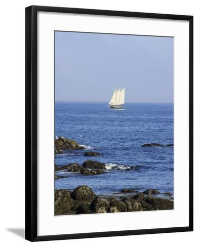 Sailboat Along The Coast, Kennebunkport, Maine, USA-Lisa S^ Engelbrecht-Framed Art Print