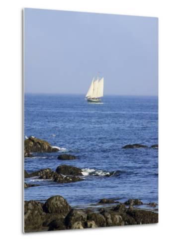 Sailboat Along The Coast, Kennebunkport, Maine, USA-Lisa S^ Engelbrecht-Metal Print