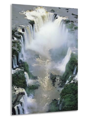 Towering Igwacu Falls Thunders, Brazil-Jerry Ginsberg-Metal Print