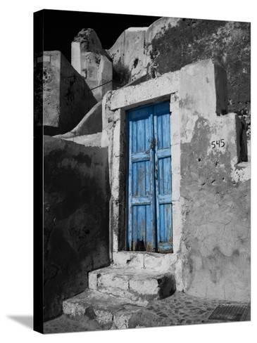 Colorful Blue Door, Oia, Santorini, Greece-Darrell Gulin-Stretched Canvas Print