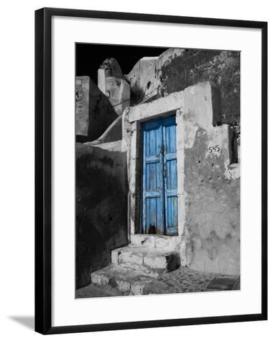 Colorful Blue Door, Oia, Santorini, Greece-Darrell Gulin-Framed Art Print