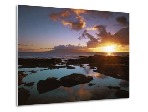 Sunset from Napili Point, Maui, Hawaii, USA-Charles Gurche-Metal Print