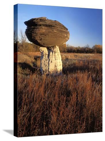 Sandstone formation, Mushroom Rocks State Park, Kansas, USA-Charles Gurche-Stretched Canvas Print