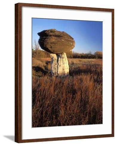 Sandstone formation, Mushroom Rocks State Park, Kansas, USA-Charles Gurche-Framed Art Print