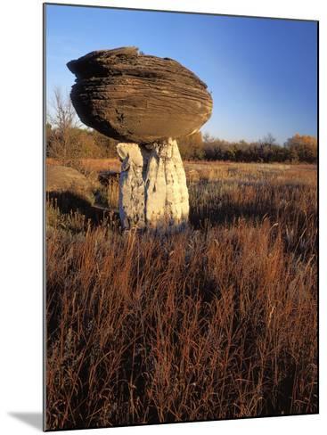 Sandstone formation, Mushroom Rocks State Park, Kansas, USA-Charles Gurche-Mounted Photographic Print