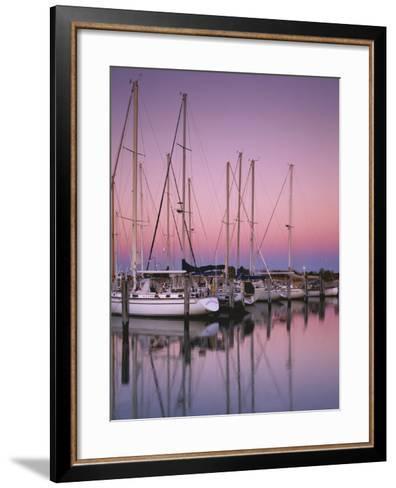 Sailboats at Dusk, Chesapeake Bay, Virginia, USA-Charles Gurche-Framed Art Print