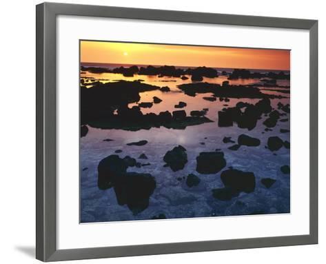 Sunset, Big Island of Hawaii, Kona Coast, Hawaii, USA-Charles Gurche-Framed Art Print