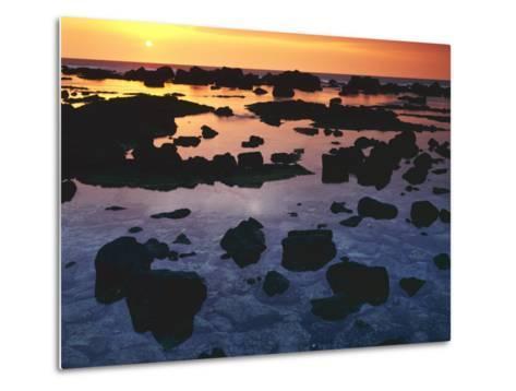 Sunset, Big Island of Hawaii, Kona Coast, Hawaii, USA-Charles Gurche-Metal Print