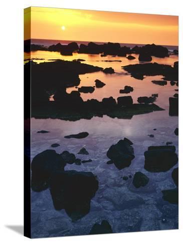 Sunset, Big Island of Hawaii, Kona Coast, Hawaii, USA-Charles Gurche-Stretched Canvas Print