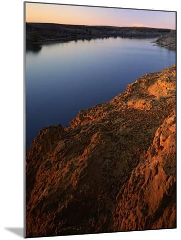 Sandstone bluff at sunset along Kanopolis Lake, Kanopolis State Park, Kansas, USA-Charles Gurche-Mounted Photographic Print