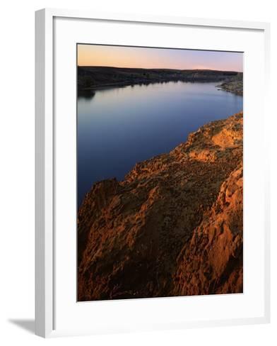 Sandstone bluff at sunset along Kanopolis Lake, Kanopolis State Park, Kansas, USA-Charles Gurche-Framed Art Print
