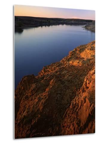 Sandstone bluff at sunset along Kanopolis Lake, Kanopolis State Park, Kansas, USA-Charles Gurche-Metal Print