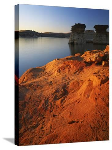 Sandstone at sunset, Rocktown Natural Area, Wilson Lake, Kansas, USA-Charles Gurche-Stretched Canvas Print