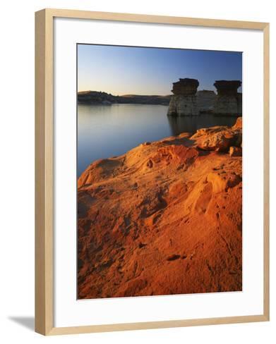 Sandstone at sunset, Rocktown Natural Area, Wilson Lake, Kansas, USA-Charles Gurche-Framed Art Print