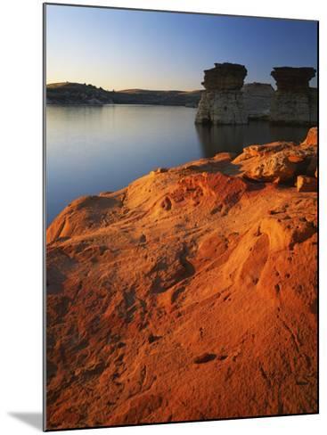 Sandstone at sunset, Rocktown Natural Area, Wilson Lake, Kansas, USA-Charles Gurche-Mounted Photographic Print