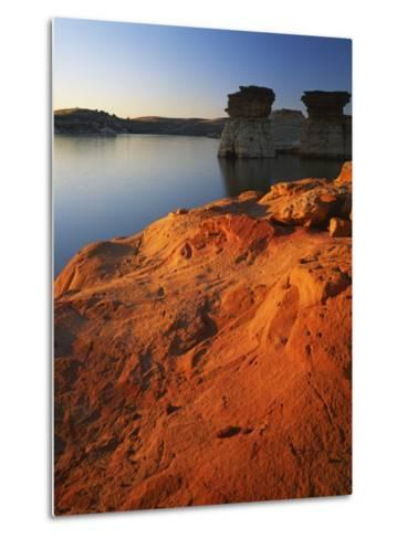 Sandstone at sunset, Rocktown Natural Area, Wilson Lake, Kansas, USA-Charles Gurche-Metal Print