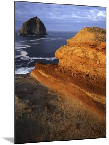 Rock formations along Oregon Coast at sunrise, Cape Kiwanda State Park , Oregon, USA-Charles Gurche-Mounted Photographic Print