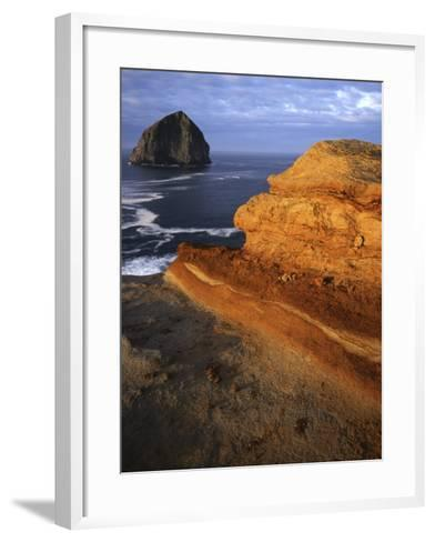 Rock formations along Oregon Coast at sunrise, Cape Kiwanda State Park , Oregon, USA-Charles Gurche-Framed Art Print