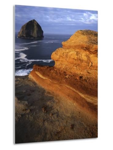 Rock formations along Oregon Coast at sunrise, Cape Kiwanda State Park , Oregon, USA-Charles Gurche-Metal Print