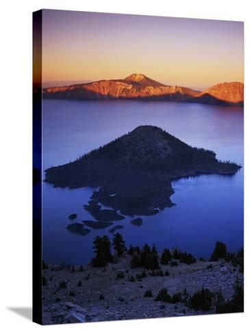 Wizard Island at dusk, Crater Lake National Park, Oregon, USA-Charles Gurche-Stretched Canvas Print