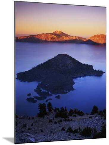Wizard Island at dusk, Crater Lake National Park, Oregon, USA-Charles Gurche-Mounted Photographic Print