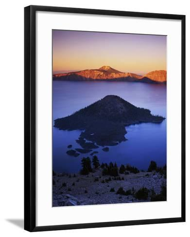 Wizard Island at dusk, Crater Lake National Park, Oregon, USA-Charles Gurche-Framed Art Print