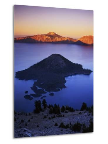 Wizard Island at dusk, Crater Lake National Park, Oregon, USA-Charles Gurche-Metal Print