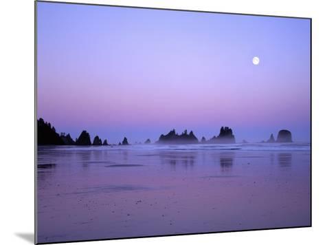 Full moon above seastacks, Olympic National Park, Washington, USA-Charles Gurche-Mounted Photographic Print