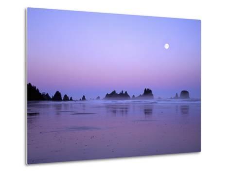 Full moon above seastacks, Olympic National Park, Washington, USA-Charles Gurche-Metal Print