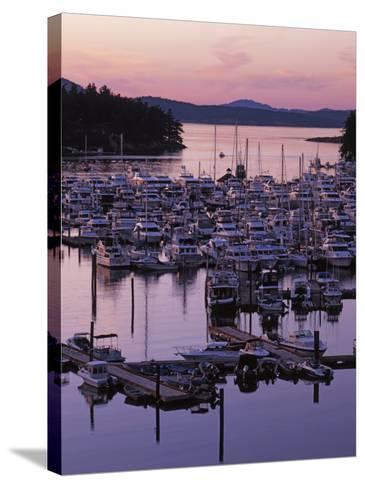 Roche Harbor Marina At dusk, San Juan Island, Washington, USA-Charles Gurche-Stretched Canvas Print
