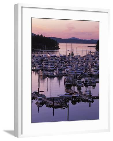 Roche Harbor Marina At dusk, San Juan Island, Washington, USA-Charles Gurche-Framed Art Print