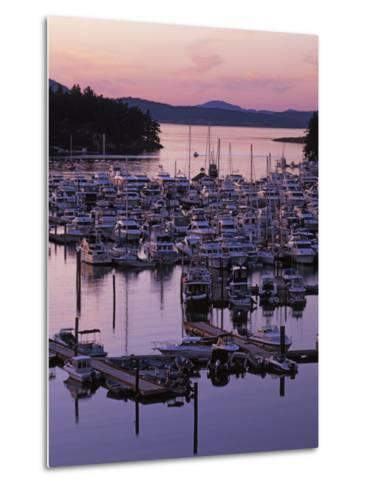 Roche Harbor Marina At dusk, San Juan Island, Washington, USA-Charles Gurche-Metal Print