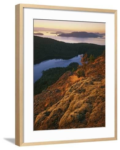 Sunrise from Mt. Constitution, Moran State Park, Orcas Island, Washington, USA-Charles Gurche-Framed Art Print