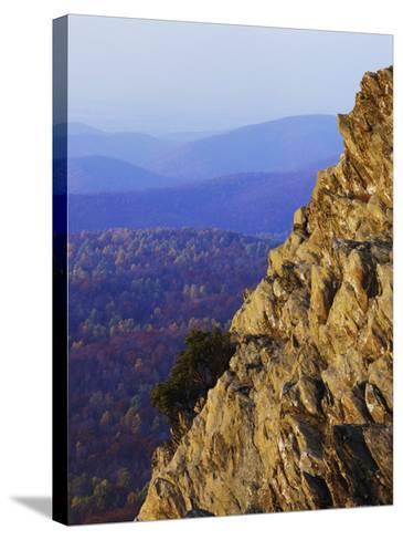 Sunset on Humpback Rocks, Blue Ridge Parkway, Virginia, USA-Charles Gurche-Stretched Canvas Print