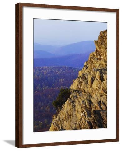 Sunset on Humpback Rocks, Blue Ridge Parkway, Virginia, USA-Charles Gurche-Framed Art Print