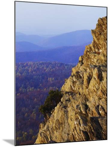 Sunset on Humpback Rocks, Blue Ridge Parkway, Virginia, USA-Charles Gurche-Mounted Photographic Print