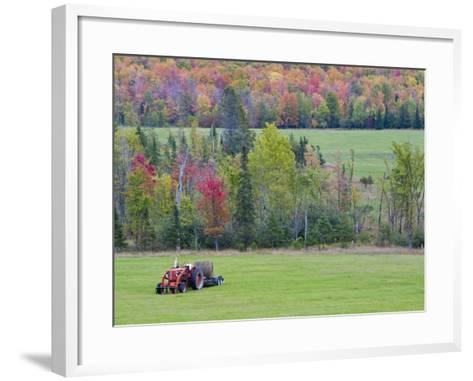 Tractor with Hay Bale, Bruce Crossing, Michigan, USA-Chuck Haney-Framed Art Print
